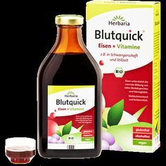 Herbaria Blutquick ist ein natürliches Mittel gegen Eisenmangel ohne Alkohol und komplett vegan. Bekämpfen Sie erfolgreich Eisenmangel.