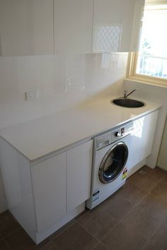 Laundry White Laundry renovation located in Perth, Western Australia On the Ball Bathrooms Diy Cupboard Doors, Laundry Cupboard, Laundry Nook, Small Laundry Rooms, Laundry Room Storage, Door Storage, Cupboard Storage, Laundry In Bathroom, Diy Kitchen Cupboards