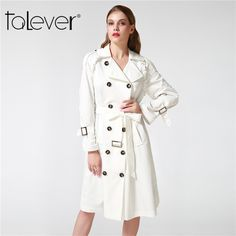 Talever Autumn Winter Trench Coat for Women Adjustable Waist Slim Solid Black Coat White Long Trench Female Outerwear Plus Size