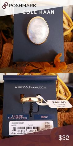 NWT Cole Haan Genuine Semi - Precious Ring This beautiful semi - precious ring by Cole Haan is definitely a statement piece. New With Tags. Wear with just about anything. Size 7.  Open to offers!!! :-)  Happy Poshing! Cole Haan Jewelry Rings