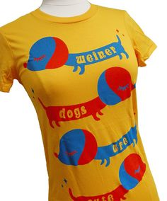 Weiner Dog TShirt  Yellow DACHSHUND Shirt  by emandsprout on Etsy, $16.00