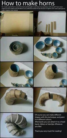 DIY ram horns made out of card board. Lighter weight than ceramic horns!