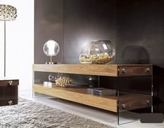 Entertainment TV Center in Walnut with Glass Legs Yonkers New York [VAURA] : Prime Classic Design, modern Italian furniture: luxury designer and genuine leather sectionals, dining room and bedroom sets distributor
