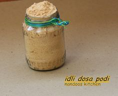 Idli podi is a side dish which is served along with idli / dosa made with a mixture of urad dal, channa dal, and various other spices. There are various ways in which idli dosa podi is made Podi Recipe, Recipe Boards, Spice Mixes, Chutney, Allergies, Side Dishes, Spices, Split Peas, Cooking