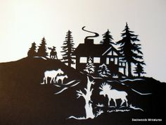 Hand Cut Silhouette ''Moose Cabin'' by BackWoodsMiniatures on Etsy, $25.00