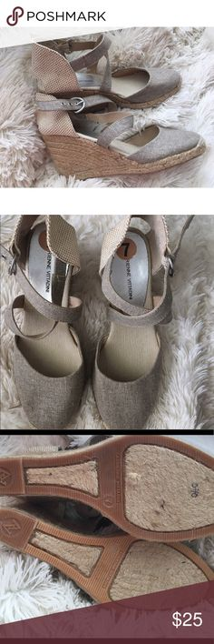 Adrienne Vittadini Brianna wedge Neutral canvas espadrille wedge by Adrienne Vittadini. Size 7. Very gently used. Right shoe is missing buckle loop. Does not affect wearability. Adrienne Vittadini Shoes Espadrilles