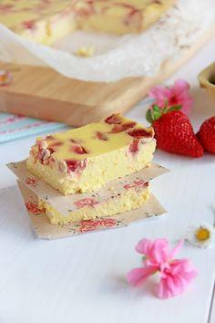 Tarta de queso rellena de fresas