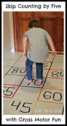 Combine learning and movement for a fun gross motor activity while practicing skip counting.  Math has never been so much fun!