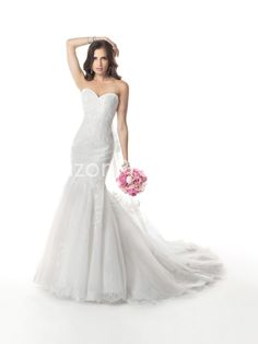 2014 Lace Appliques Sweetheart Tulle Wedding Dresses
