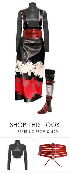 """""""Red, Leather, Snake, Snow (F)"""" by floraleona ❤ liked on Polyvore featuring Thierry Mugler, Alaïa and Jeffrey Campbell"""