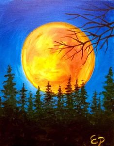 Huge orange moon and blue sky. beautiful-examples-of-acrylic-painting-24