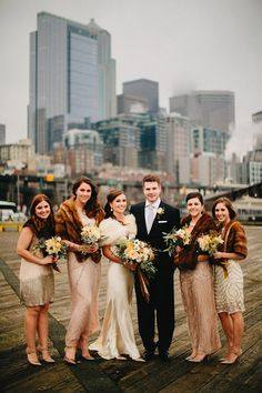 Glamorous bridesmaids with the newlyweds - so gorgeous! #wedding #gold #gatsby #bride #artdeco