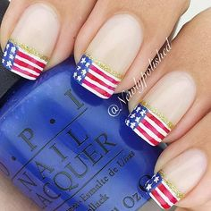 Flag Tip Nails with a Pop of Gold