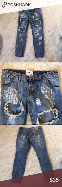 NWOT one teaspoon trashed free birds size: 28 New without tags! These are a size 28 and are a looser boyfriend fit (which happened to not look good on my thicker leg frame which is why I'm giving them a new home! 💕) One Teaspoon Jeans Boyfriend