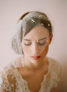 Bridal tulle veil with pearl beads  Mini tulle veil by myrakim, $150.00