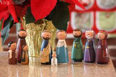 Peg dolls are quite the rage in the indie craft world, and if you have yet to see the variety of decorated wooden dolls, you have been missing out! Not only do these adorable little things come in… Diy Nativity, Christmas Nativity, Christmas Wood, Kids Christmas, Christmas Crafts, Nativity Sets, Christmas 2014, Christmas Printables, Merry Christmas