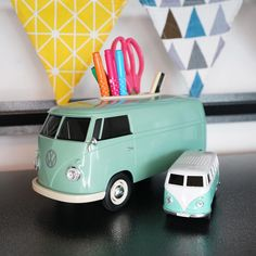 Ridaz Officially licensed VW Set  1. 1:16 scale model of a VW 1963 T1 bus multi-functional box is designed for use as decorative tissue box, smartphone holder, stationary box, remote control storage box, small indoor plant box.  2. 1:32 VW T1 Bus Bluetooth Speaker  Must have for any VW car enthusiast! #volkswagen #t1campervan #t1bus #volkswagent1 #carenthusiast #campervan #vw #vwbus #vwt1lovers #vwlovers Volkswagen T1, Small Indoor Plants, Stationary Box, T1 Bus, Remote Control Holder, Plant Box, Smartphone Holder, Tissue Boxes, You Are The Father