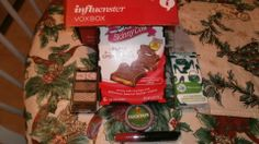 My Influenster VoxBox - skinny cow candy, NYC eyeshadow, Rimmel London lip lacquer, Puffs plus lotion and Duct tape.