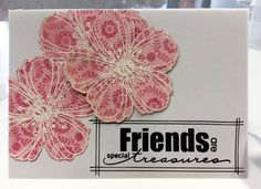 Card with flowers stamped white embossing on patterned paper - Stjernesus design