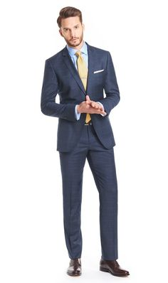 Men's Navy Blue Double Check Slim Fit suit - Super 120s Wool