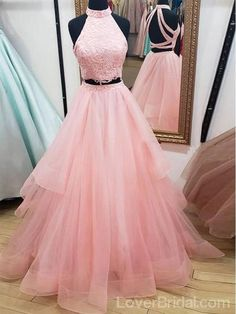 This is a sleeveless long tulle two piece prom dress with lace. Silhouette: Two Pieces Neckline: High Neck Hemline/Train:Floor length Sleeve Length:Sleeveless Embellishment:Lace Back Details:Open Back Fabric: Tulle, lace Cute Prom Dresses, Tulle Prom Dress, Long Wedding Dresses, Pink Dresses, Homecoming Dresses Long, Gala Dresses, Short Prom, Pageant Dresses, Quinceanera Dresses