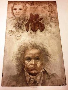 http://img05.allegroimg.pl/photos/oryginal/48/36/10/97/4836109724 Beethoven - Appassionata z cyklu I Musici suchá jehla, lept, měkký kryt; grafika s opusovým číslem 373; volný grafický list; rozměry: grafický list - 64 x 48 cm
