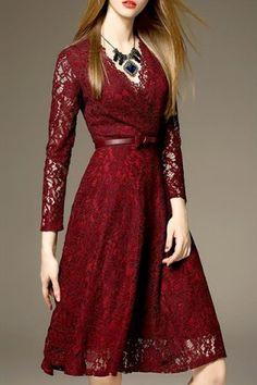 Elegante cuello en V vestido de encaje para las mujeres Midi