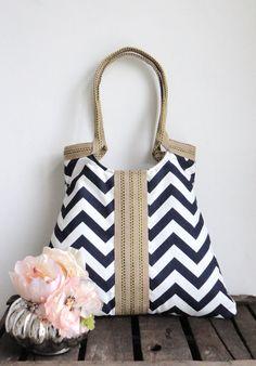 Shoulder Bag Purse Navy blue-white chevron tote bag with jute Winter Fashion. $65.00, via Etsy.