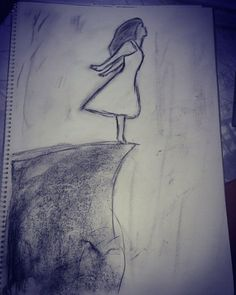 Discover ideas about sad drawings Sad Sketches, Easy Drawings Sketches, Girl Drawing Sketches, Pencil Sketch Drawing, Sad Drawings, Girly Drawings, Cool Art Drawings, Beautiful Drawings, Easy Pencil Drawings