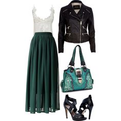 """""""Teal + Leather"""" by tlexrawr on Polyvore"""
