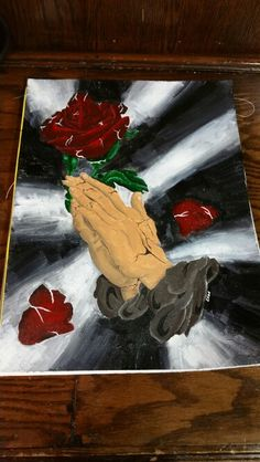 Acrylic painting on canvas, praying hands.