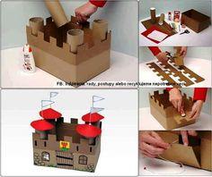 Castelinho feito com rolos de papel higiênico