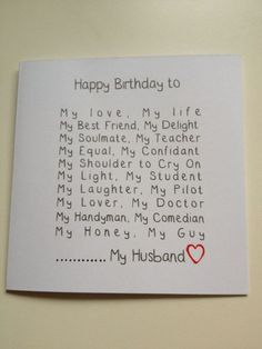 Husband Birthday Cards Husband Birthday and Birthday .- Husband Birthday Cards Husband Birthday and Birthday Cards on Handmade Birthday Card Ideas - 30th Birthday Cards, Birthday Cards For Boyfriend, Birthday Gifts For Husband, Diy Gifts For Boyfriend, Handmade Birthday Cards, Happy Birthday Me, Birthday Quotes, Birthday Wishes, Husband Gifts