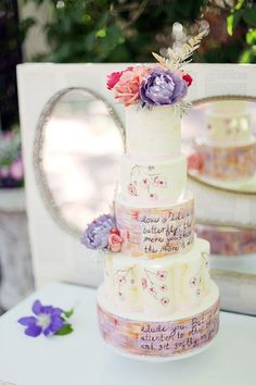 Cake Love Quote Inscribed Wedding With Edible Ink The Natural Pretty Cakes, Beautiful Cakes, Amazing Cakes, Wedding Blog, Dream Wedding, Wedding Ideas, Garden Wedding, Wedding Company, Cupcake Cakes