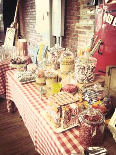 Old fashion candy Buffet with root beer floats by rizOHcollection.