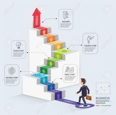 ビジネス テンプレートを開始する手順を実行します。矢印を歩くビジネスマン。ベクトルの図。ワークフローのレイアウト、図、番号のオプション、web デザイン、インフォ グラフィック、タイムラインに使用できます。 Stairs Vector, Timeline Infographic, Infographic Templates, Infographics Design, Web Design, Page Design, Layout Design, Graphic Design Inspiration, Illustration