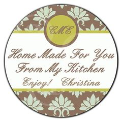 """Personalized Food Label! Monogram and Damask """"From My Kitchen"""" by StickerDivas"""