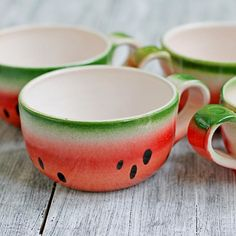 Watermelon Mug Colorful Ceramic Tea Cups Set Stoneware Ceramic Mugs, Ceramic Art, Stoneware, Pottery Painting Designs, Pottery Designs, Cocina Mickey Mouse, Watermelon Decor, Painted Coffee Mugs, Ceramics Projects