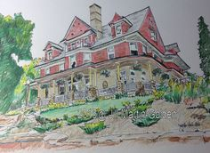 Ink and Prisma Colors, The Porch by Jill Martin-Golden http://www.jillraefinallyart.com/30-in-30.php