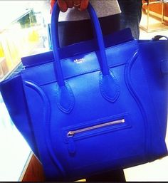 celine mini luggage tote electric blue