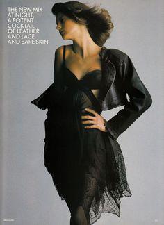 Linda Evangelista in 'Paris Provocative' by Hans Feurer for Vogue UK, March 1987.