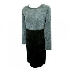 COLDWATER CREEK Gray/Black Chenille Color Block Dress Size Small (S) $18 with FREE shipping to US & Canada!