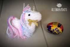 Easter Unicorn Creme Egg Cover, Covers hand knitted