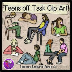 Teenagers off task clip art - color and black line. Product includes: • Boy sleeping in class • Boy texting in class • Girl chewing gum in class • Girl leaning back in chair • Teens talking • Bored girl doodling • Boy chilling out
