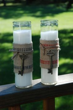 Dollar Store country style candles with burlap & keys