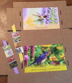 Calendar pictures of birds glued and taped to the inside of boxes, and 2-sided bookmarks made with little photos from the back of the calendar along with ribbon and double-sided tape. I have several bird items that will go in these boxes, including beanie baby birds, notebooks, notecards, socks . . . Calendar Pictures, How To Make Bookmarks, Operation Christmas Child, Note Cards, Notebooks, Charity, Tape, Boxes, Beanie