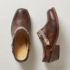 """TRIAD CLOGS--BedStü emboldens the classic clog with solid boot construction, classic harness accents and a bit of Western spirit. Leather. Imported. Whole and half sizes 6 to 10, 11. 2"""" heel."""