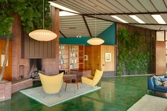 Midcentury Ojai, California.  I love the green parquet floor which can almost be mistaken for grass.