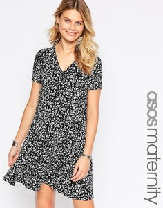 ASOS+Maternity+Swing+Dress+with+Button+Through+in+Ditsy+Print