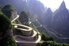 The Tianzi mountain road is one of the most dangerous in the world.